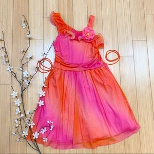 Glittery pink/orange special occasion dress, 14.